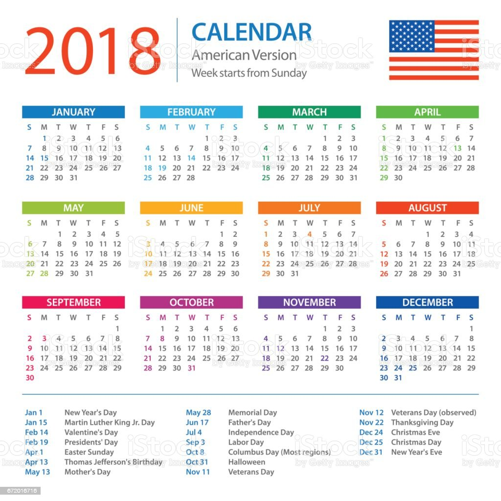 Calendar 2018 American Version With Holidays stock vector art ...