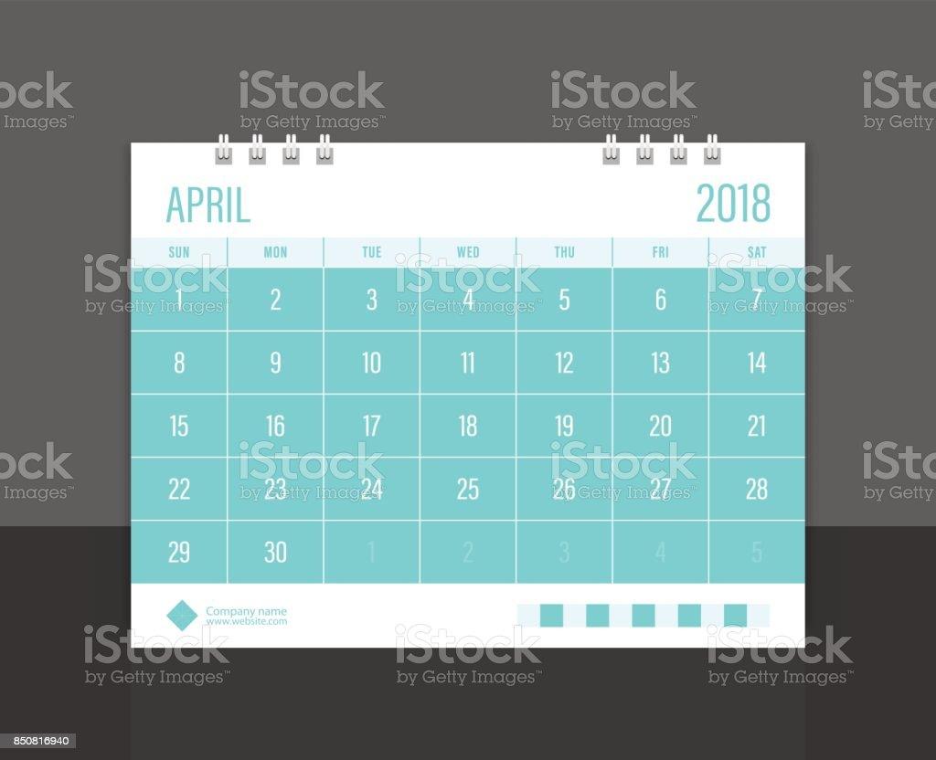 Calendar 2018 April week start on Sunday. Desk calendar corporate design template vector. vector art illustration
