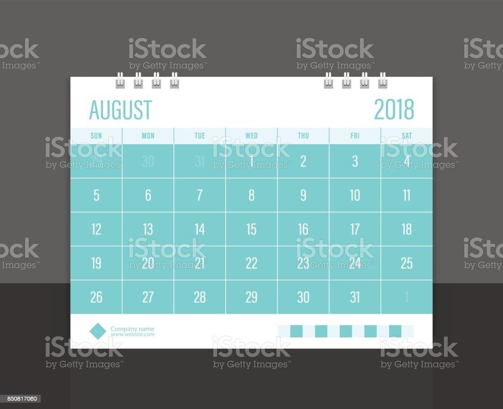 Calendar 2018 August week start on Sunday. Desk calendar corporate design template vector. vector art illustration