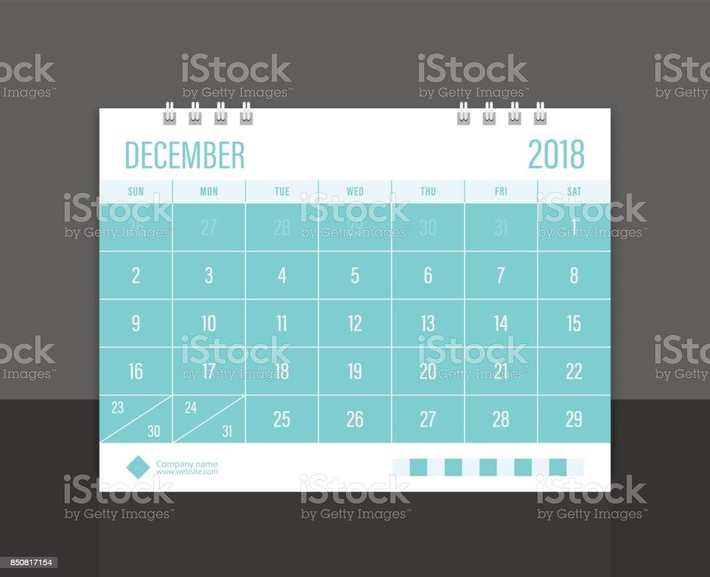Calendar 2018 December week start on Sunday. Desk calendar corporate design template vector. vector art illustration