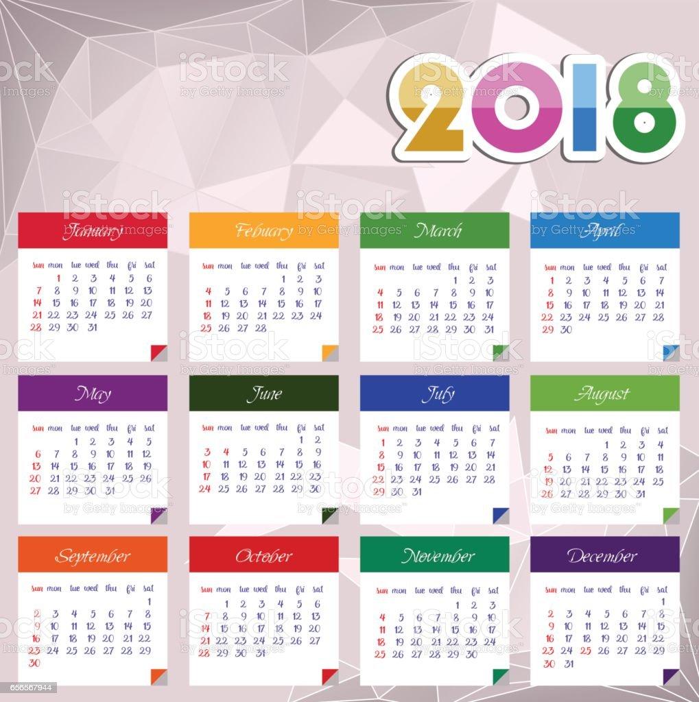 Calendar 2018 Happy New Year Vector Illustration stock vector art ...