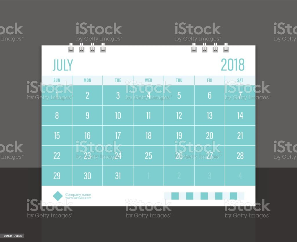 Calendar 2018 July week start on Sunday. Desk calendar corporate design template vector. vector art illustration