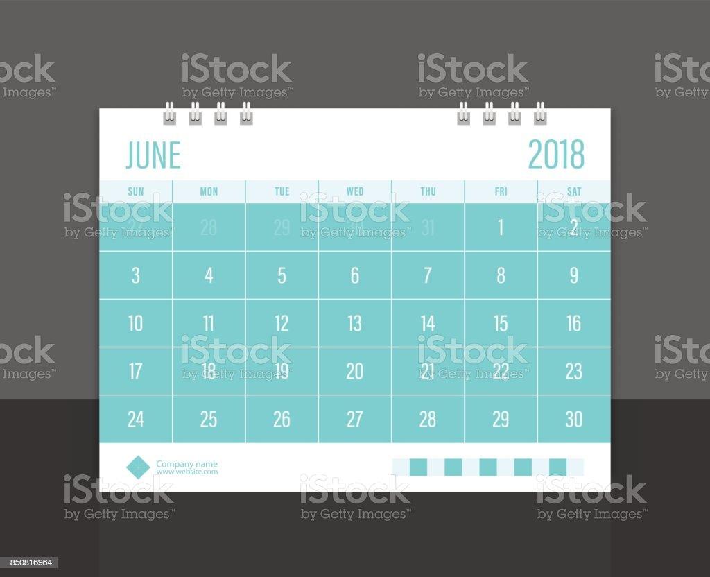 Calendar 2018 June week start on Sunday. Desk calendar corporate design template vector. vector art illustration