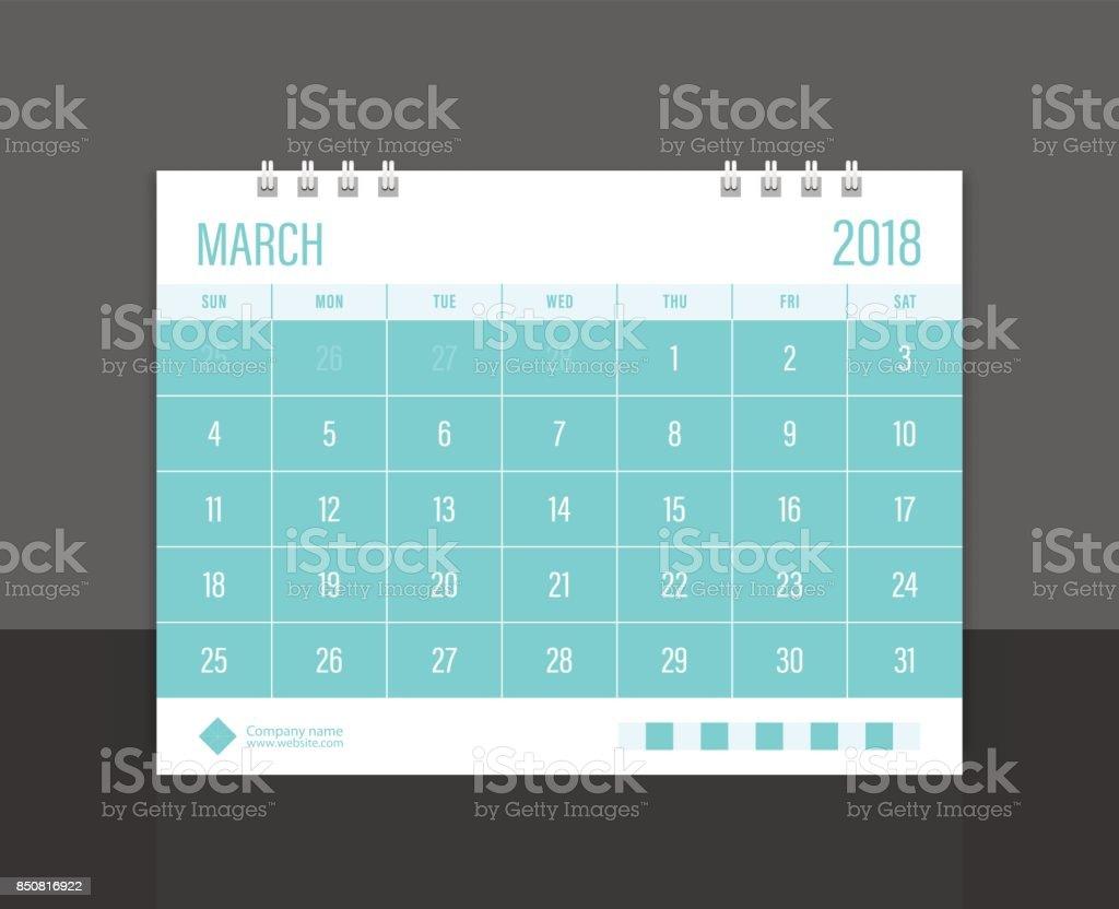 Calendar 2018 March week start on Sunday. Desk calendar corporate design template vector. vector art illustration