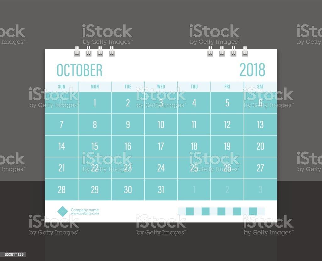 Calendar 2018 October week start on Sunday. Desk calendar corporate design template vector. vector art illustration