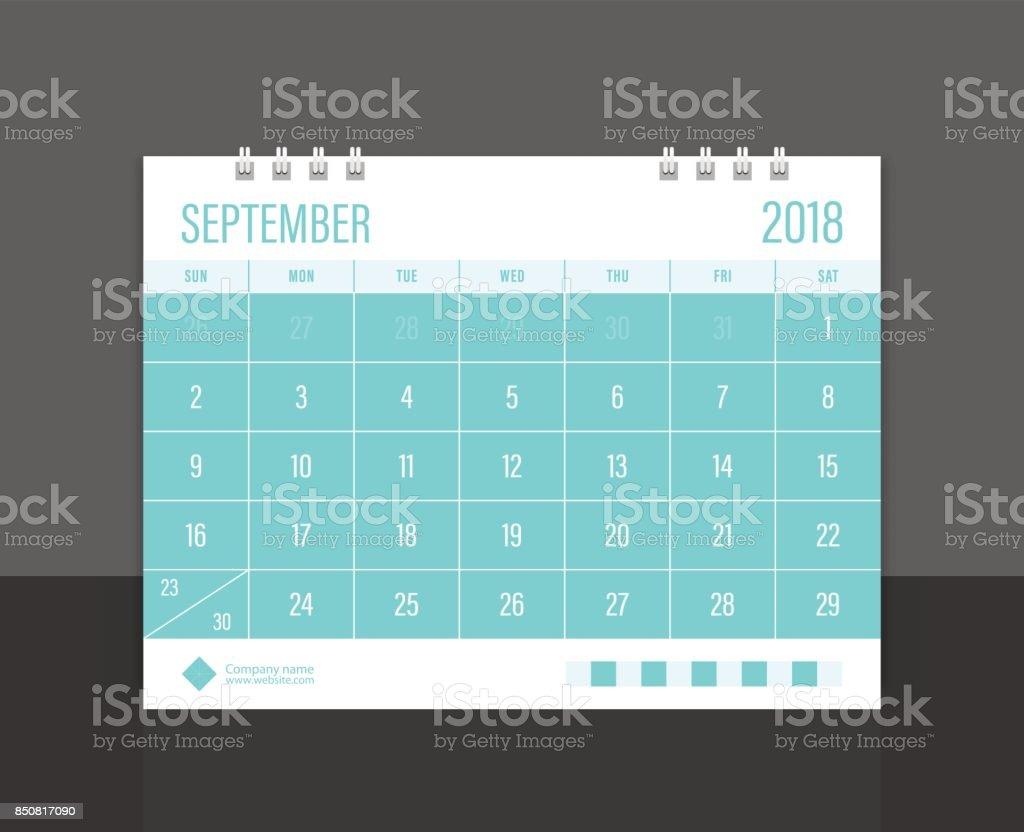 Calendar 2018 September week start on Sunday. Desk calendar corporate design template vector. vector art illustration