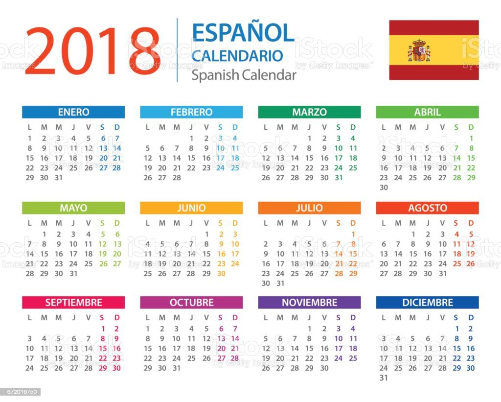 Calendar 2018 Spanish Version Stock Vector Art & More Images of ...