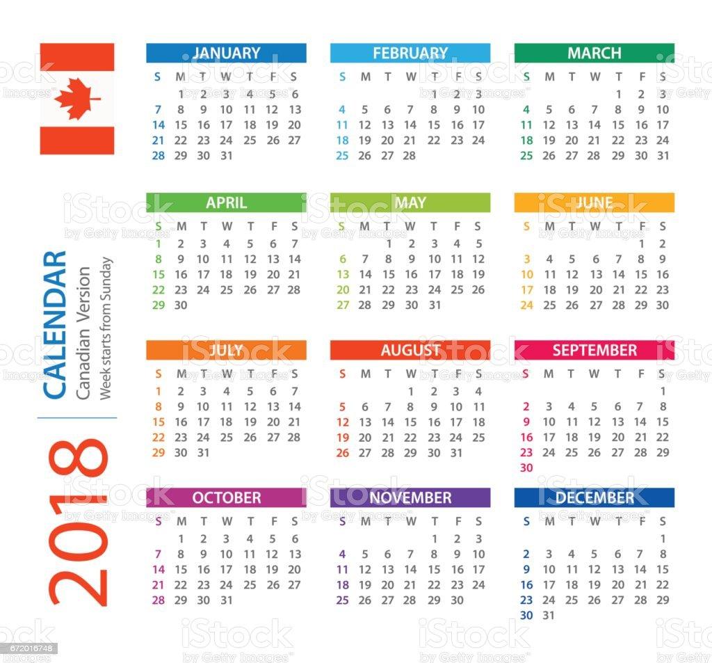 Calendar 2018 Square Canadian Version stock vector art 672016748 ...