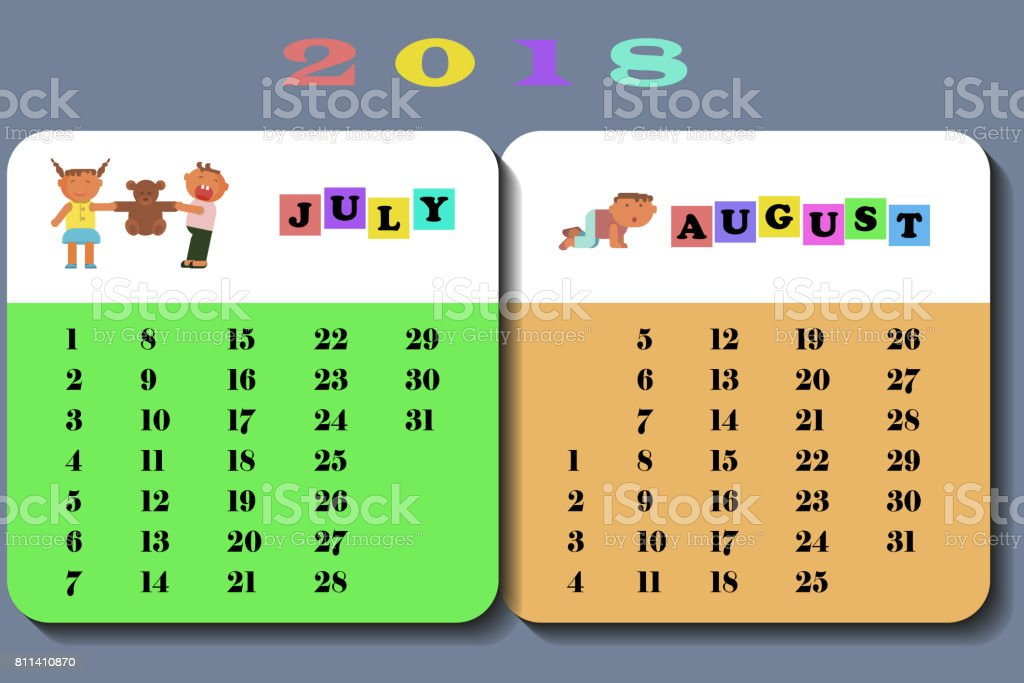 Calendar 2018 with cute children vector art illustration