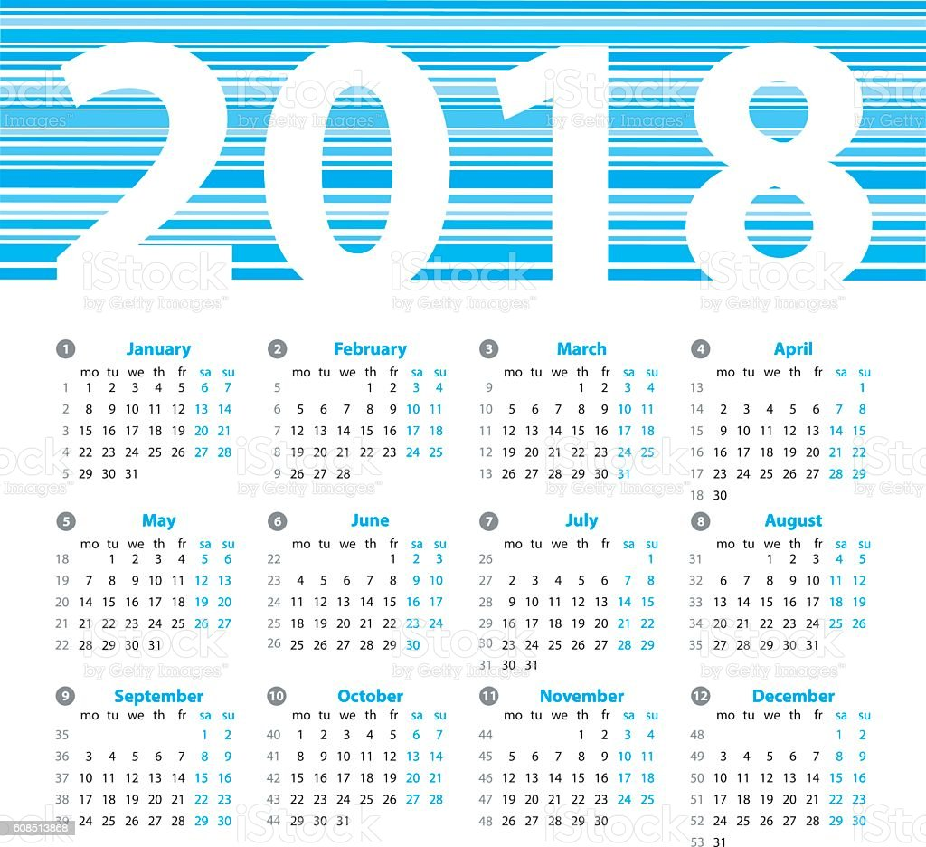 Calendar 2018 Year Vector Design Template With Week Numbers And ...