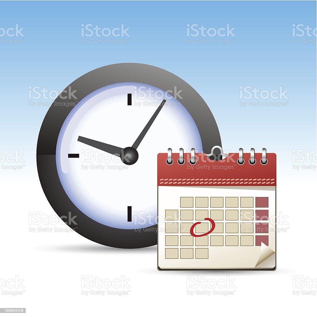 Calendar and clock icon royalty-free stock vector art