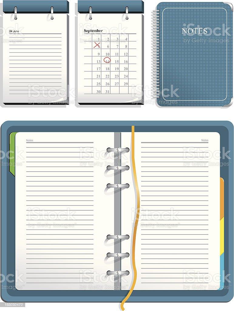 Calendar and notebook vector art illustration