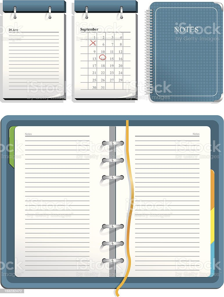 Calendar and notebook vector art illustration