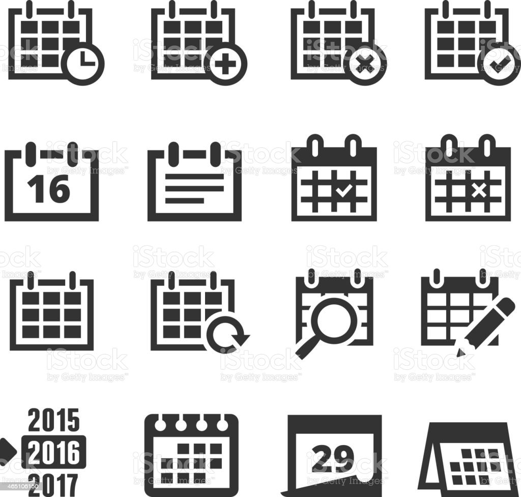 Calendar Black and White royalty free vector interface icon set vector art illustration