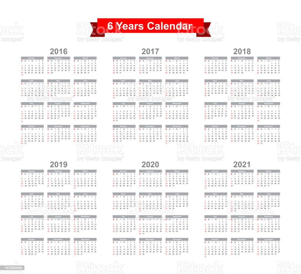 2016 - 2021 Calendar Black text on a white background vector art illustration