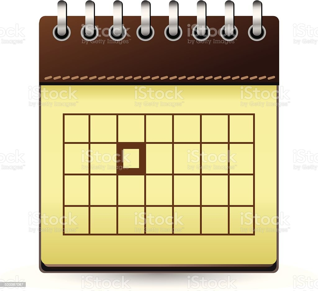Calendar brown with one day marked vector art illustration