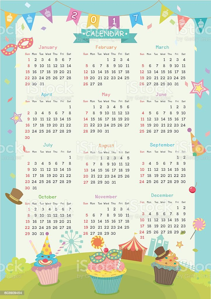 2017 calendar cupcakes carnival vector art illustration