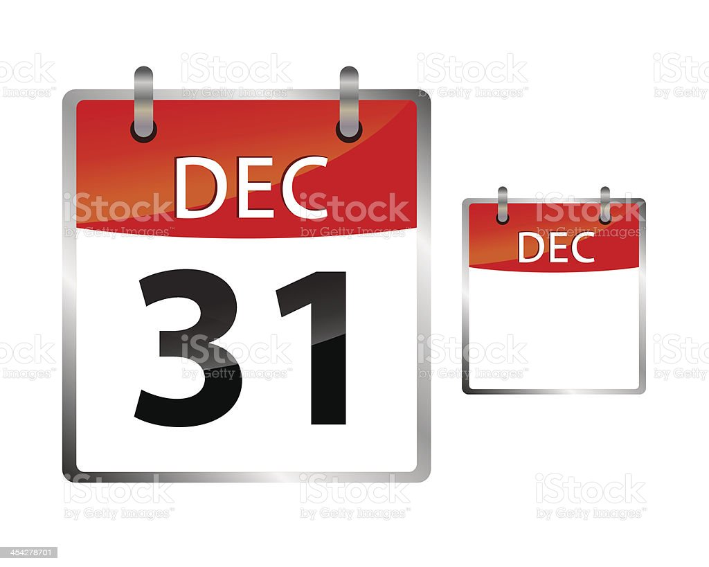 Calendar Date December 31 vector art illustration