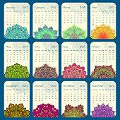2017 Calendar decorated with circular flower mandala