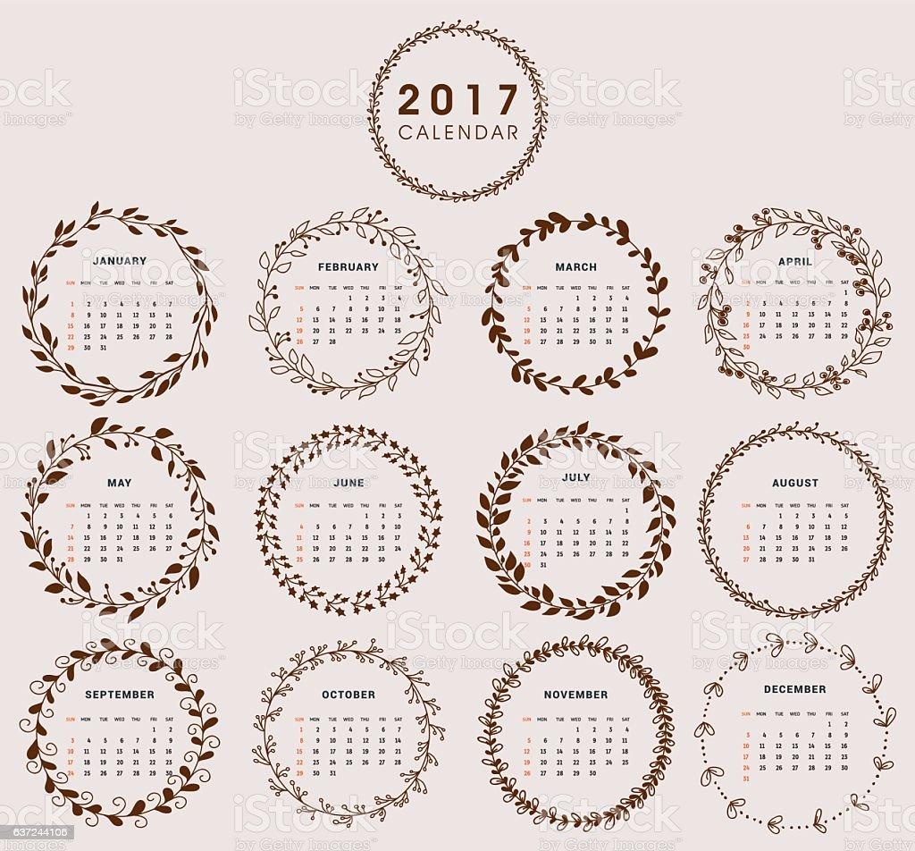 Calendar Design 2017 with Wreath vector art illustration