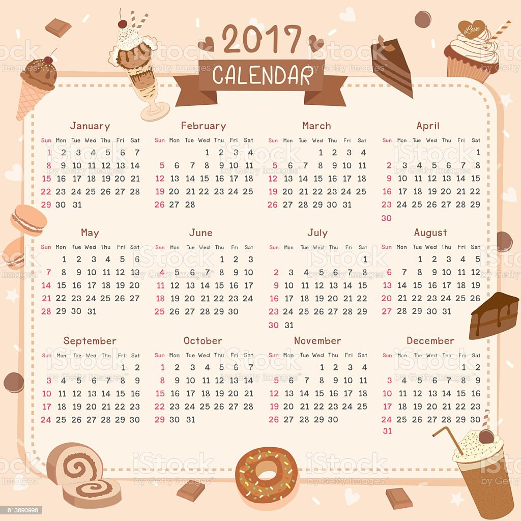 2017 calendar dessert chocolate flavor vector art illustration