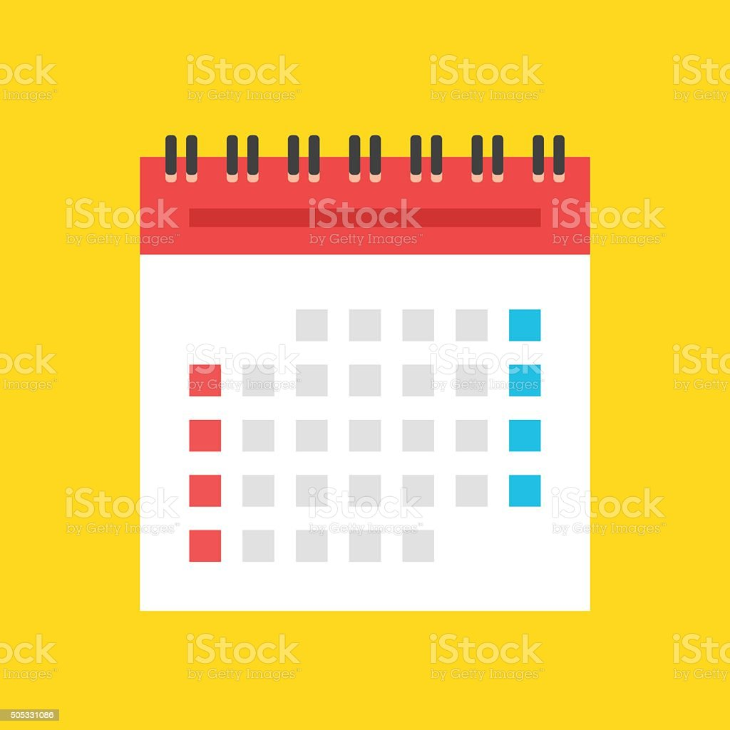 Calendar flat icon. US version. Vector illustration vector art illustration
