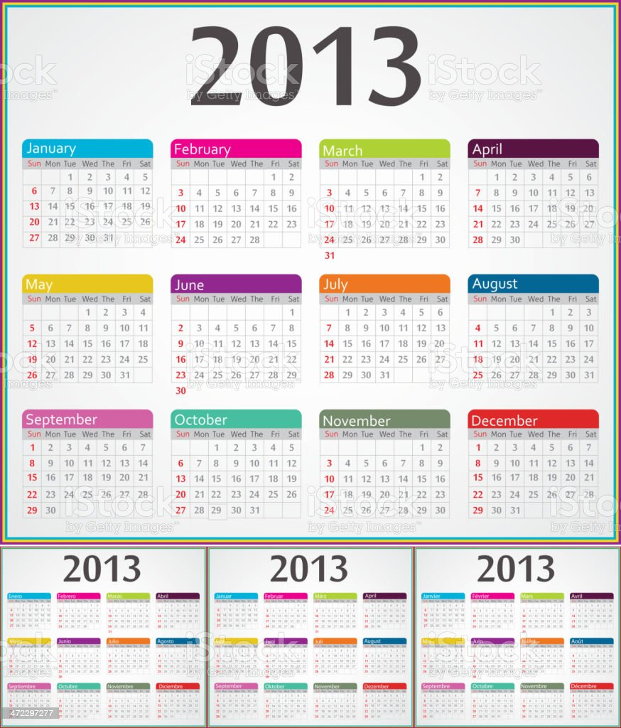Calendar for 2013 year in four different languages royalty-free stock vector art