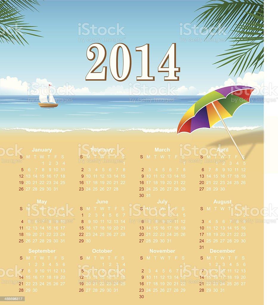 Calendar for 2014 - Vector royalty-free stock vector art