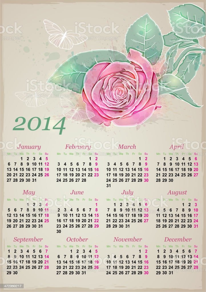 Calendar for 2014 with rose royalty-free stock vector art
