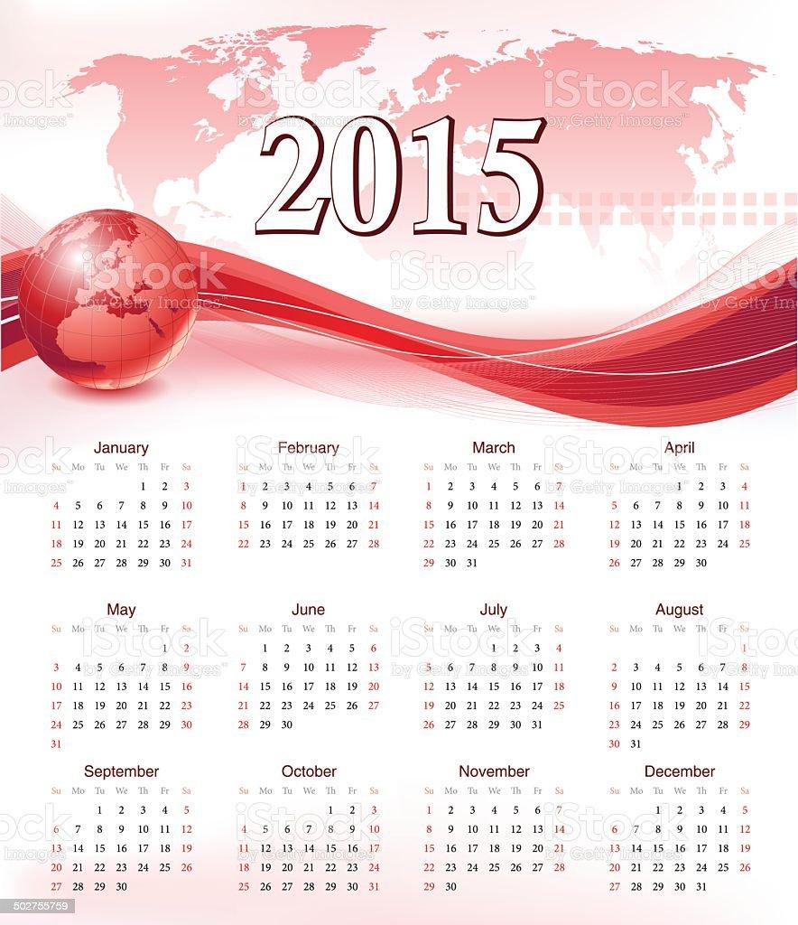 Calendar for 2015 - Vector royalty-free stock vector art