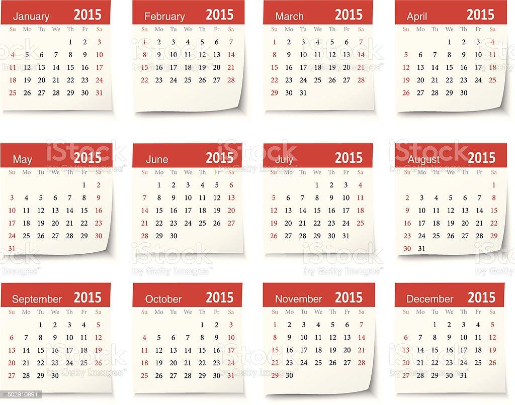 Calendar for 2015 - Vector vector art illustration