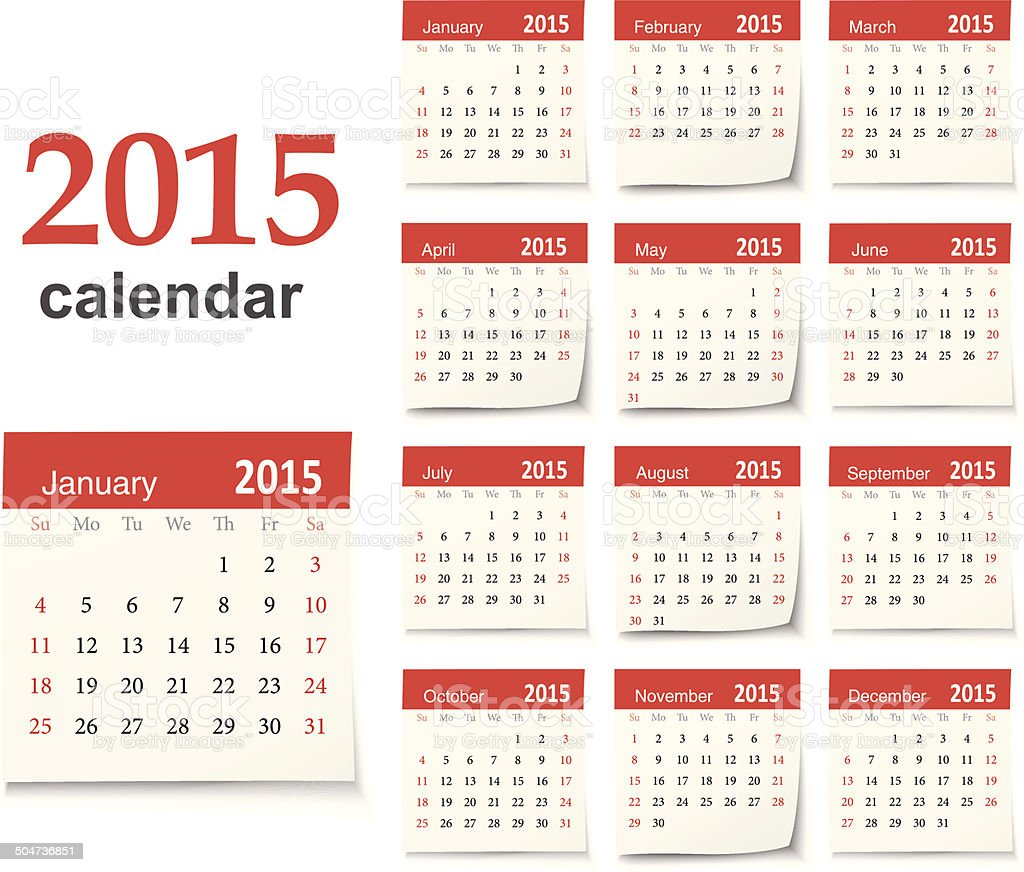 Calendar for 2015 - Vector vector art illustration