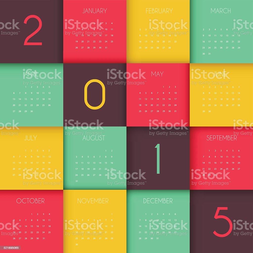 Calendar for 2015 year vector art illustration
