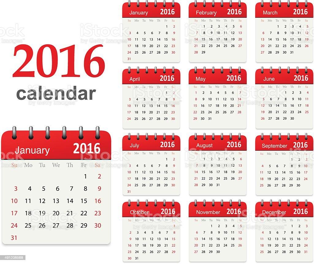 Calendar for 2016 - Vector vector art illustration