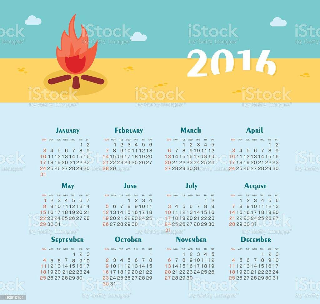 Calendario De 2016 Semana Comienza A Domingos Illustracion Libre ...