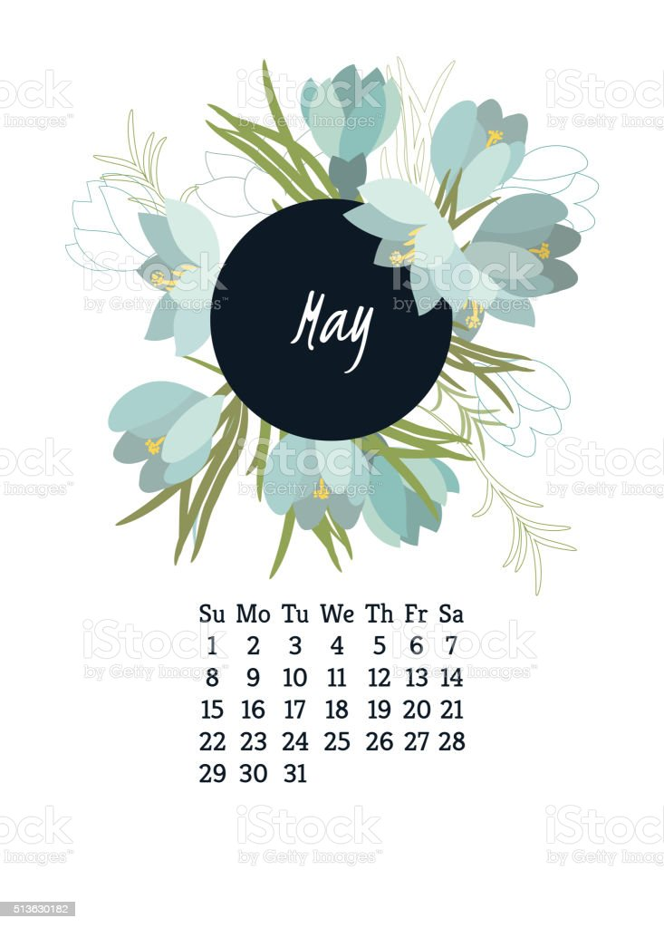 Calendar for 2016 with flowers Crocus vector art illustration