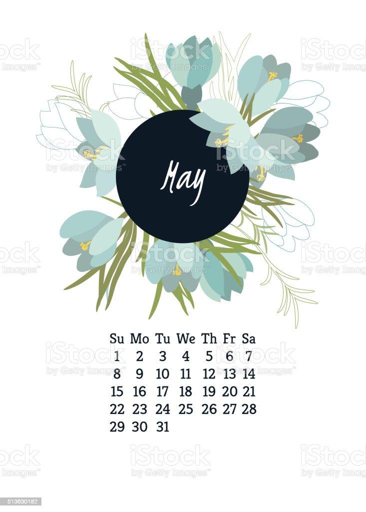 Calendar for 2016 with flowers Crocus vector art illustration