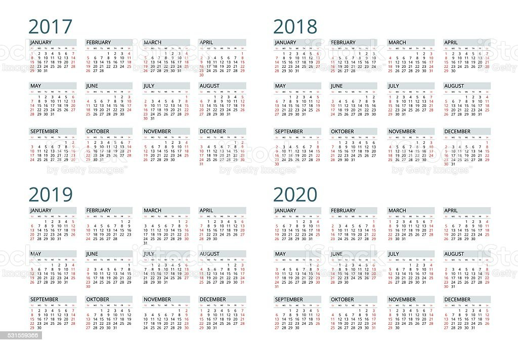 Calendar for 2017, 2018, 2019, 2020. vector art illustration
