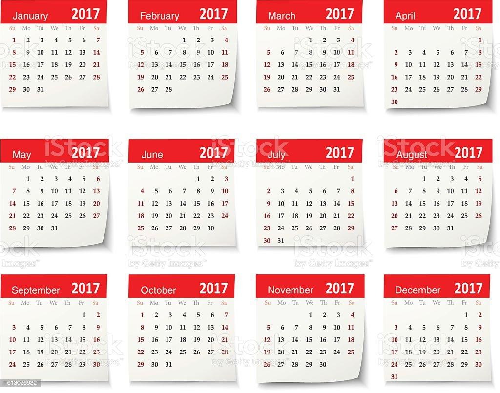 Calendar for 2017 - Vector vector art illustration