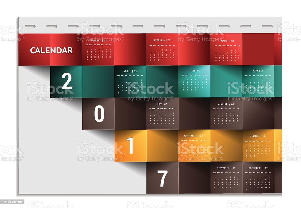 Calendar for 2017 year January-December vector art illustration