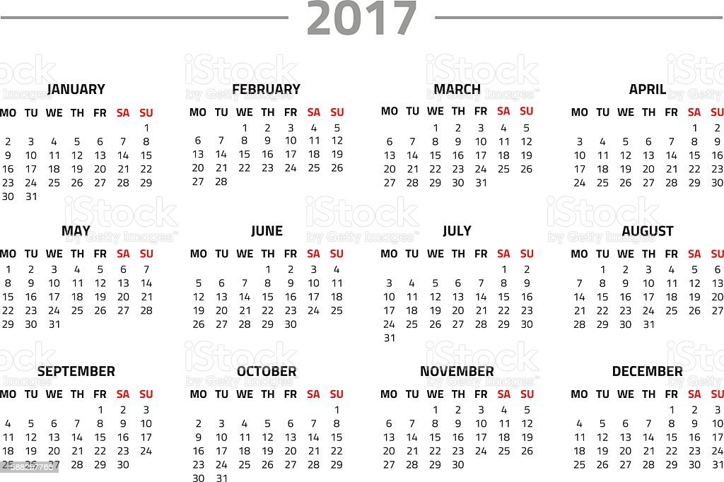 Calendar for 2017 year vector art illustration