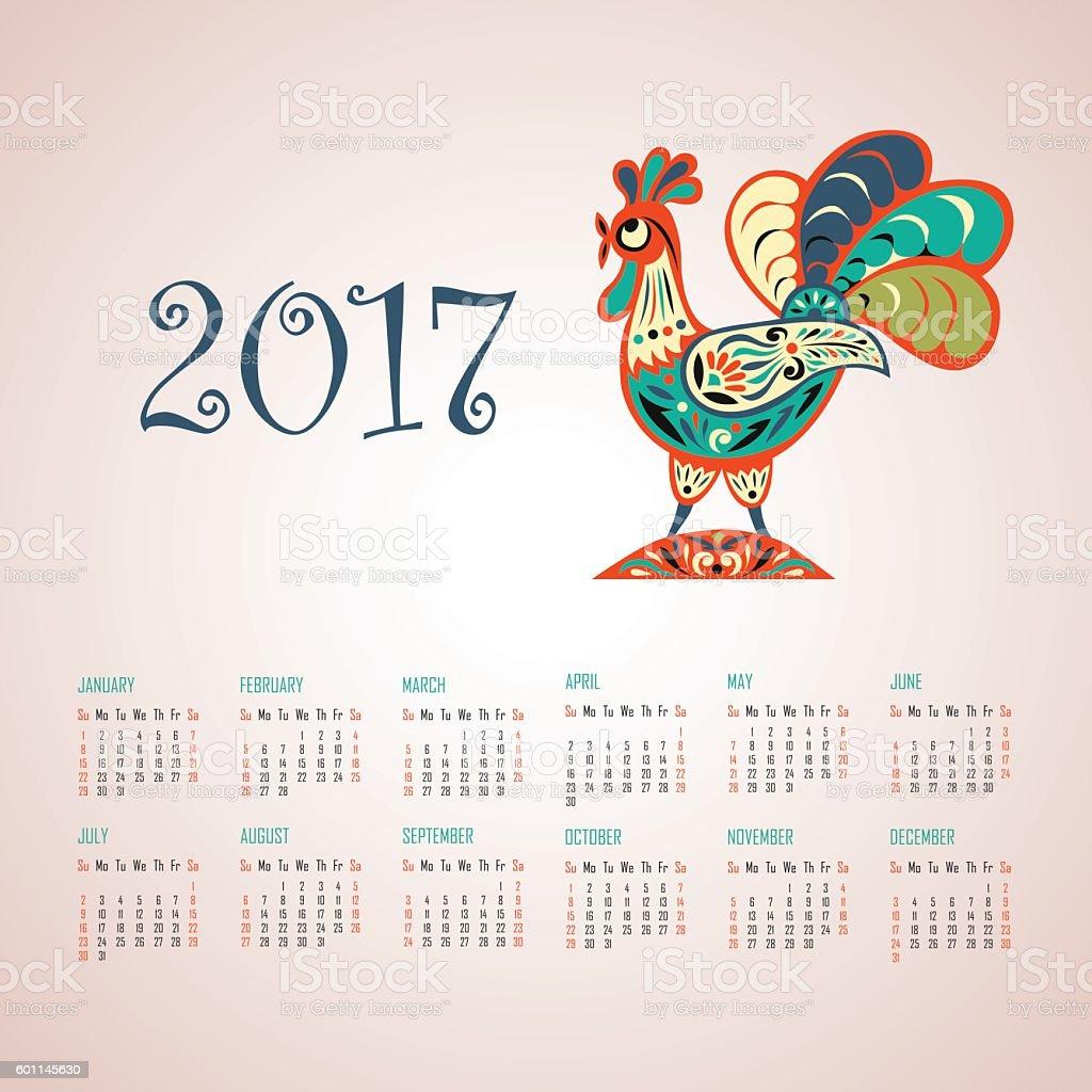 Calendrier pour 2017 année stock vecteur libres de droits libre de droits