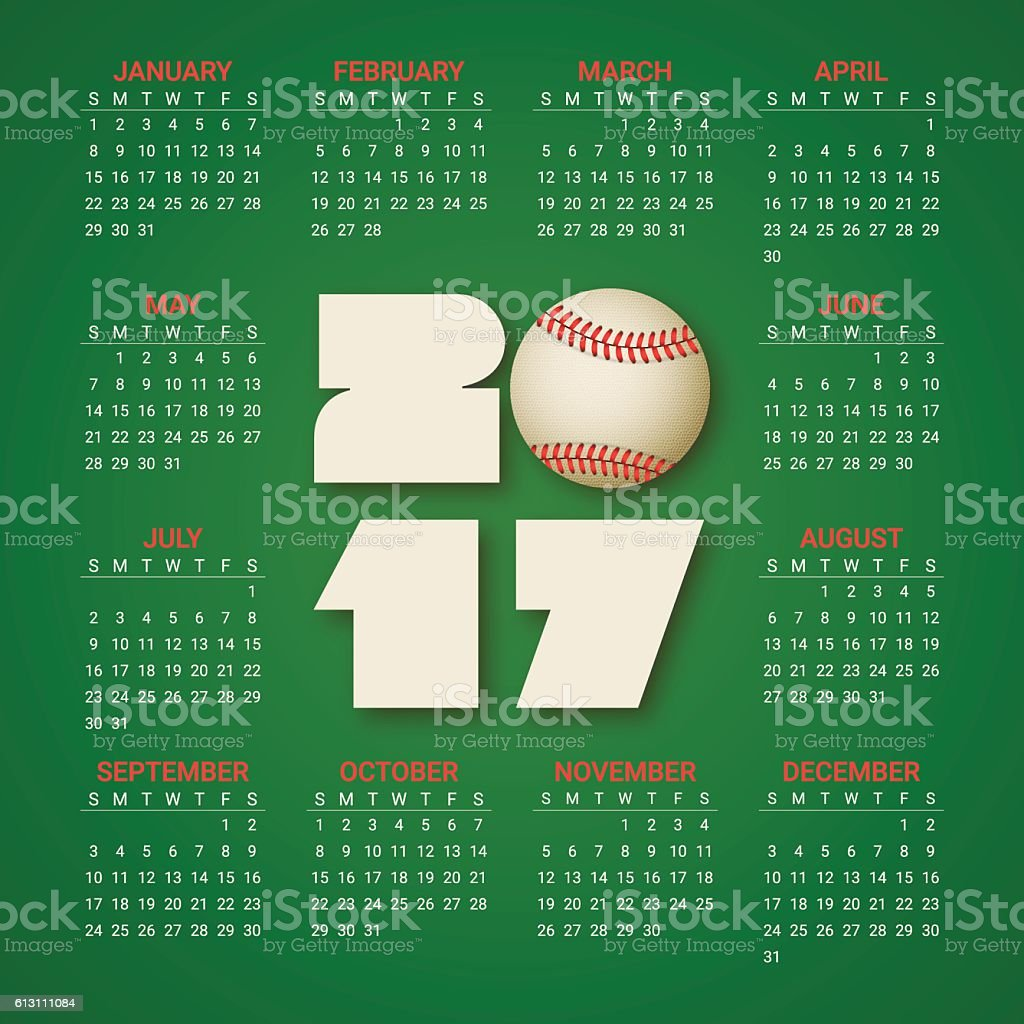 Calendar for 2017 Year with baseball ball on bright green background....
