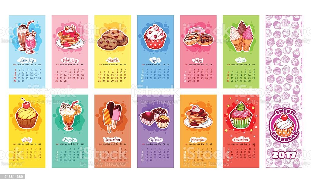 Calendar for 2017 year with sweets. vector art illustration