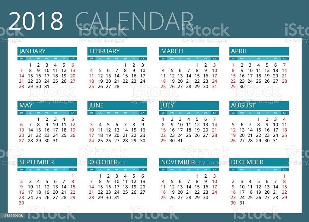Calendar for 2018. vector art illustration