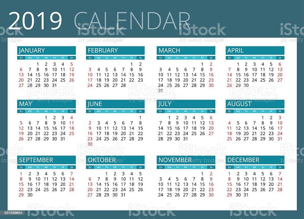 Calendario 2019 Con Semanas