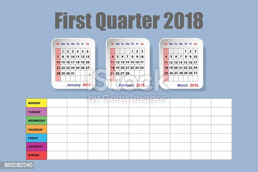 Calendar For First Quarter Of 2018 With Weekly Schedule stock ...