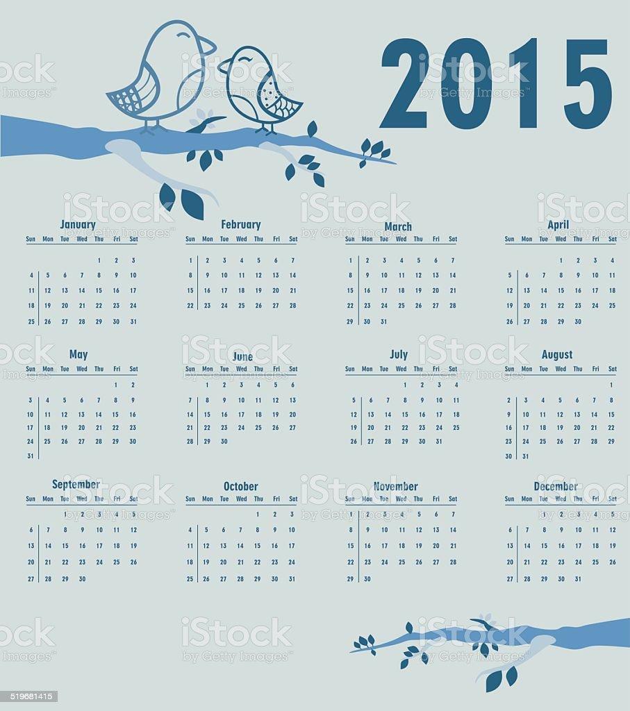Calendrier pour l'année 2015 stock vecteur libres de droits libre de droits