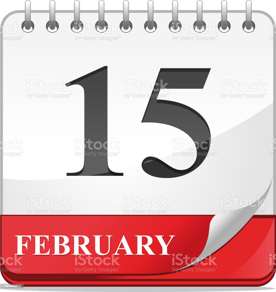 Calendar icon dated February 15 royalty-free stock vector art