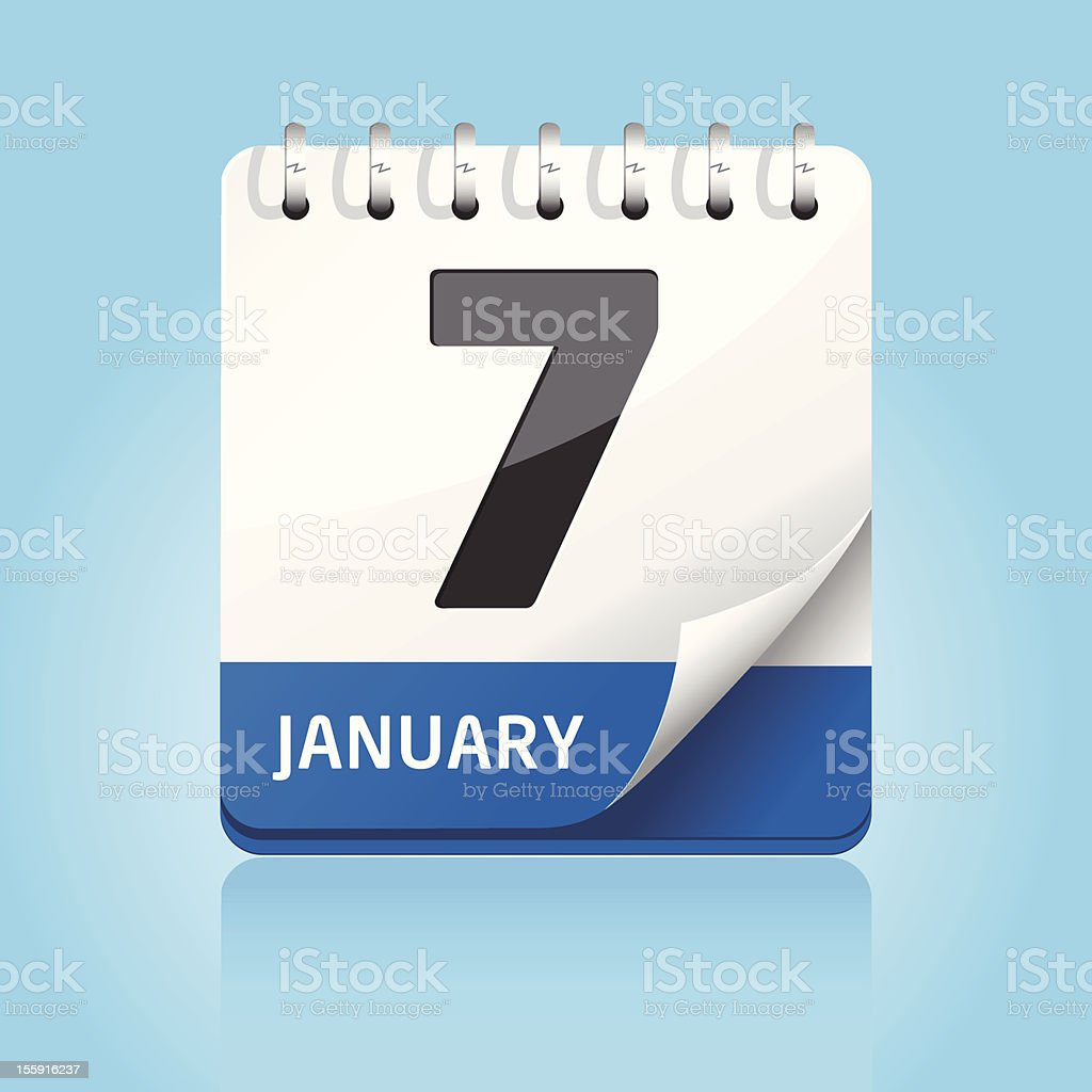 A calendar icon of January 7 with blue and light blue royalty-free stock vector art